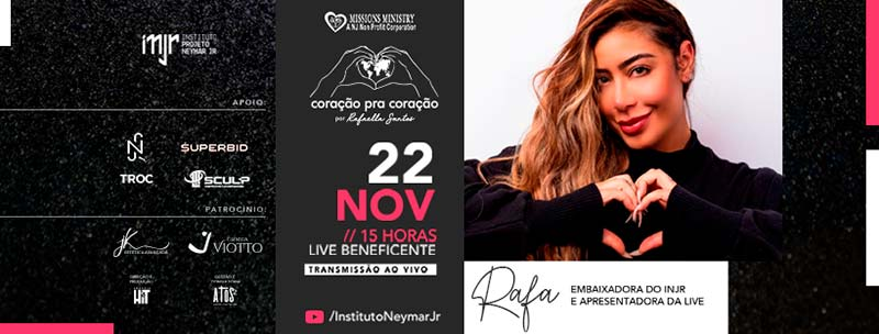 Rafaella Santos Promove Live Beneficente do Instituto Neymar Jr Para Apoiar a ONG Missions Ministry